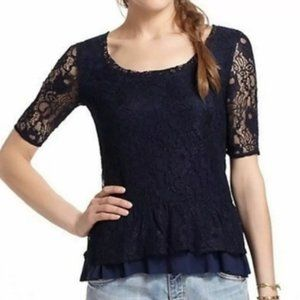 Anthropologie Deletta Navy lace asymmetrical top